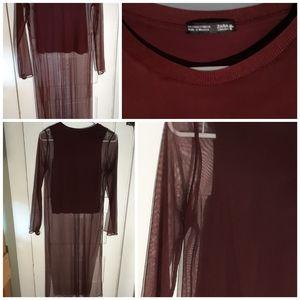 Zara W/B Collection Long Wine Mesh Tunic Top Small